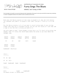 Joni Mitchell - Furry Sings The Blues - transcription