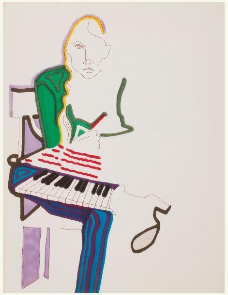 Joni Mitchell - SELF-PORTRAIT WITH KEYBOARD - paintings